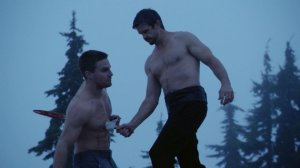RA Al GHUL killing Oliver Queen in combat RA Al GHUL played by Matt Nable Oliver Queen played by Stephen Amell